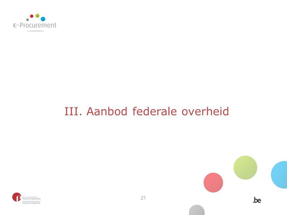 III. Aanbod federale overheid