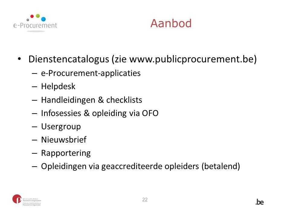 Aanbod Dienstencatalogus (zie www.publicprocurement.be)