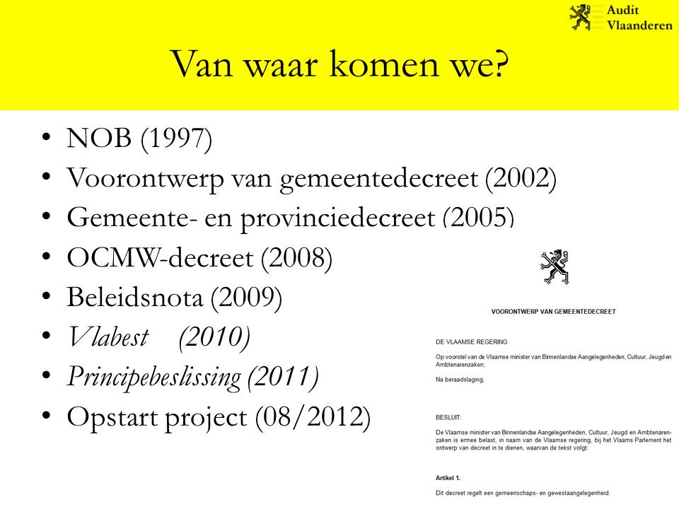 Van waar komen we NOB (1997) Voorontwerp van gemeentedecreet (2002)