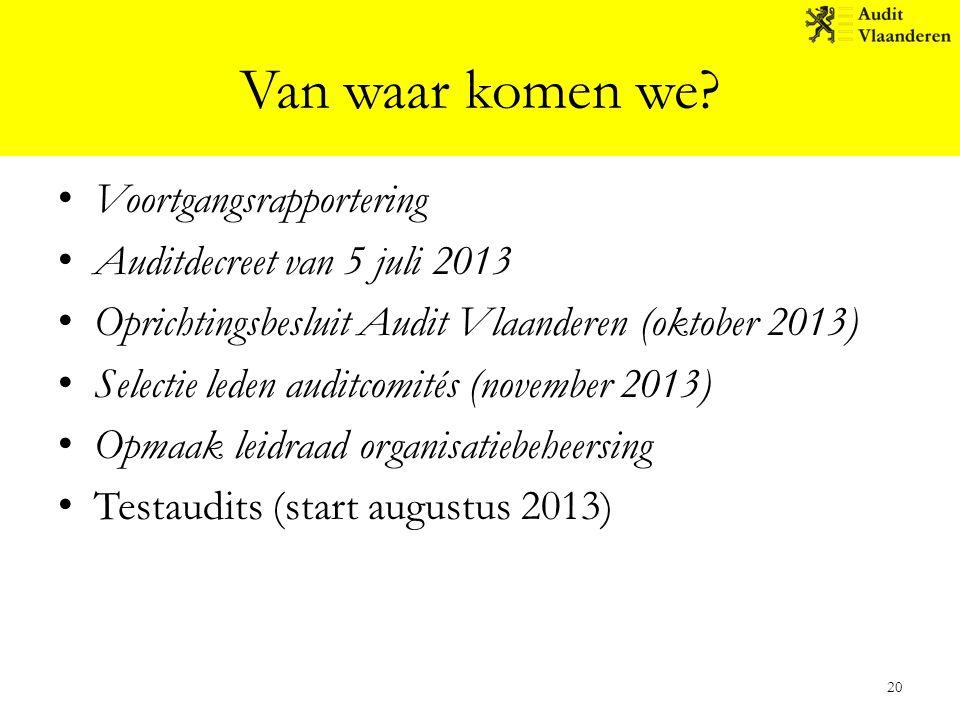 Van waar komen we Voortgangsrapportering Auditdecreet van 5 juli 2013