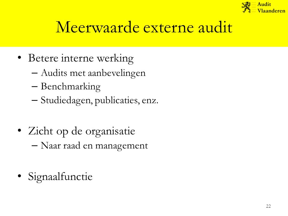 Meerwaarde externe audit