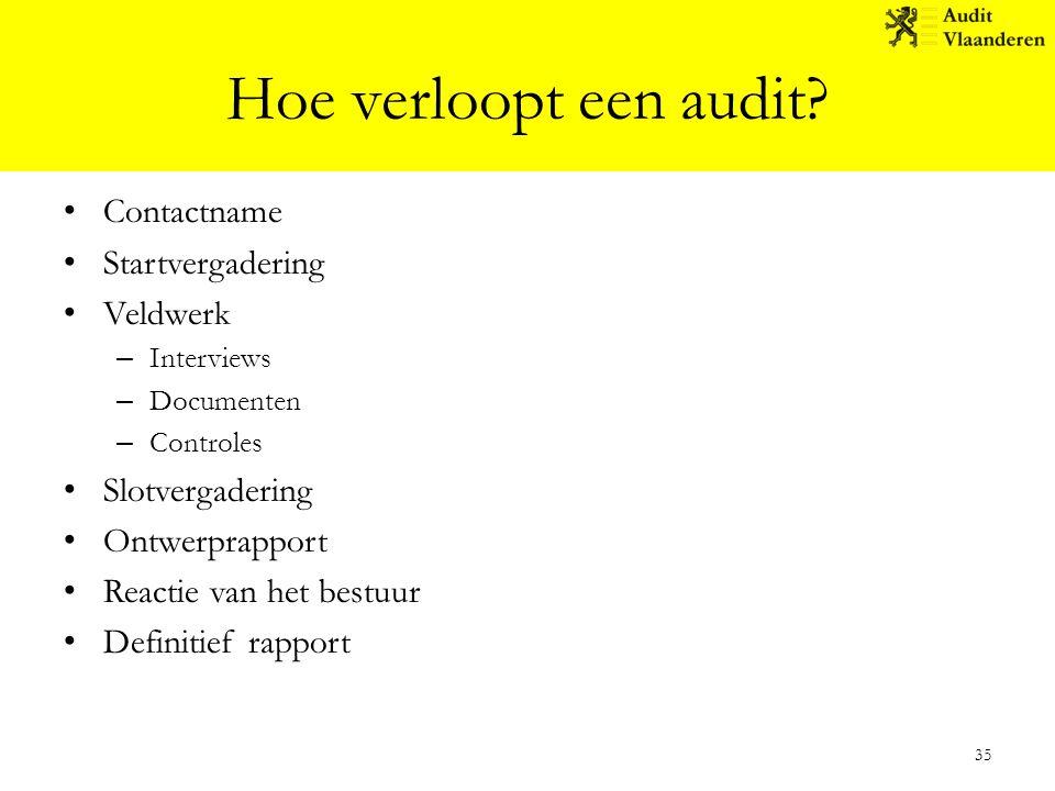 Hoe verloopt een audit Contactname Startvergadering Veldwerk