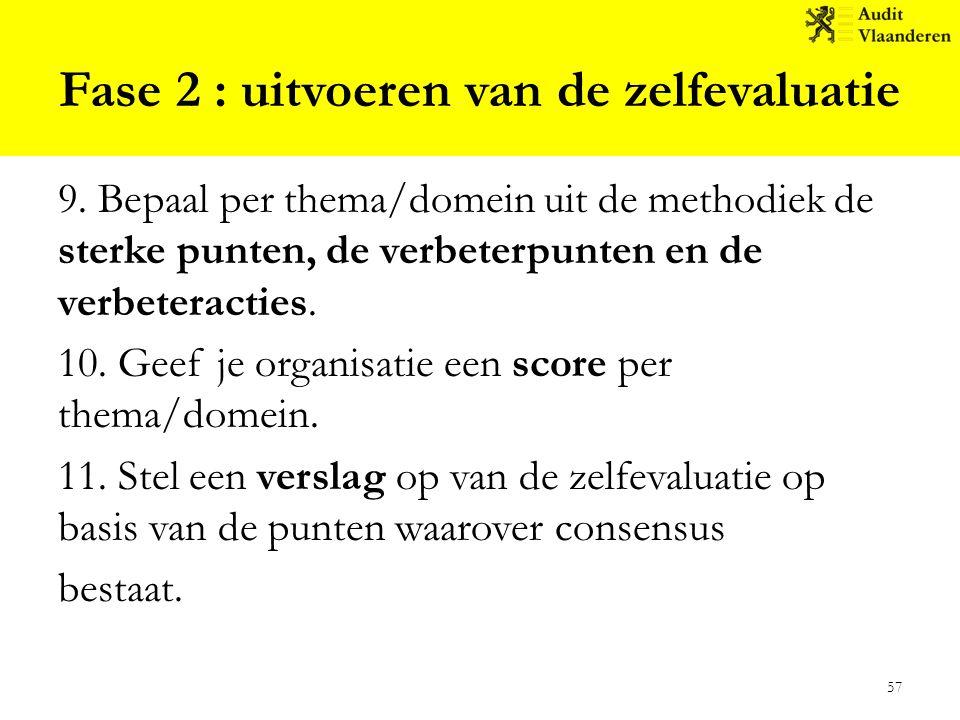 Fase 2 : uitvoeren van de zelfevaluatie