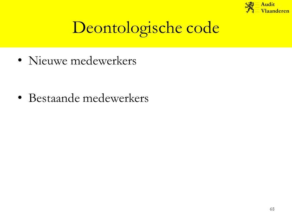 Deontologische code Nieuwe medewerkers Bestaande medewerkers