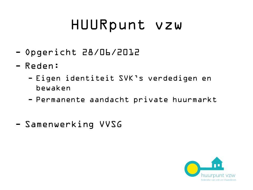 HUURpunt vzw Opgericht 28/06/2012 Reden: Samenwerking VVSG