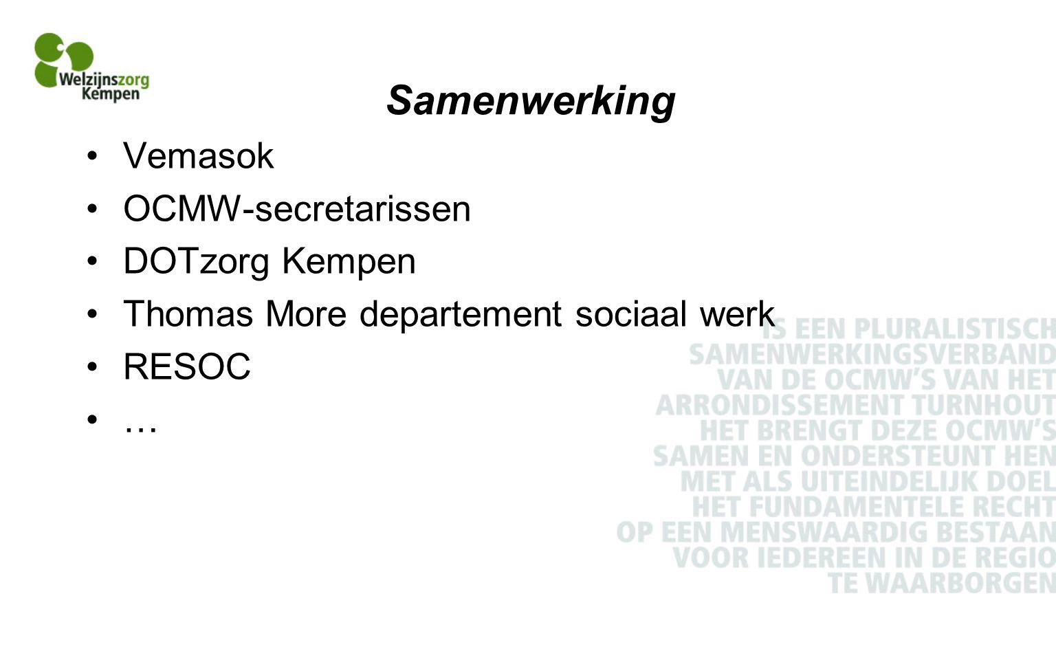 Samenwerking Vemasok OCMW-secretarissen DOTzorg Kempen