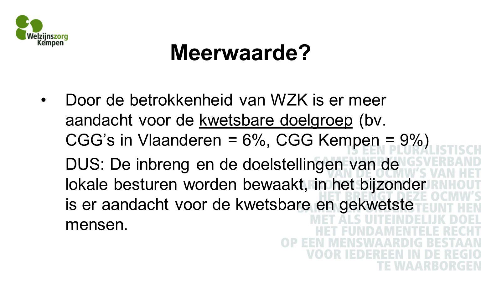 Meerwaarde Door de betrokkenheid van WZK is er meer aandacht voor de kwetsbare doelgroep (bv. CGG's in Vlaanderen = 6%, CGG Kempen = 9%)
