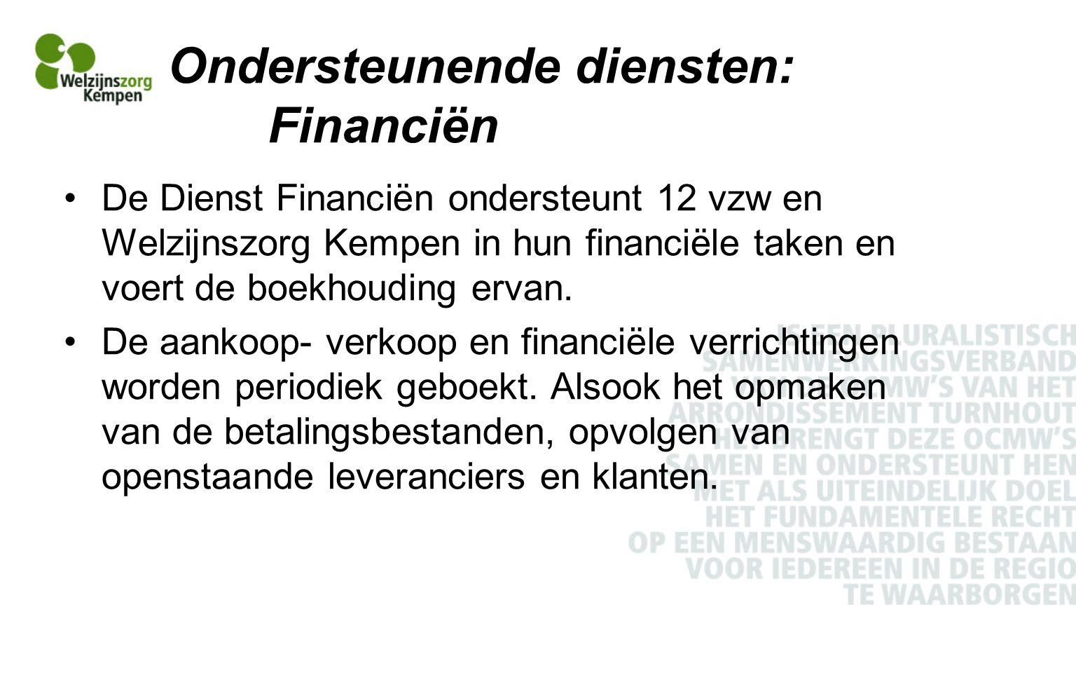 Ondersteunende diensten: Financiën