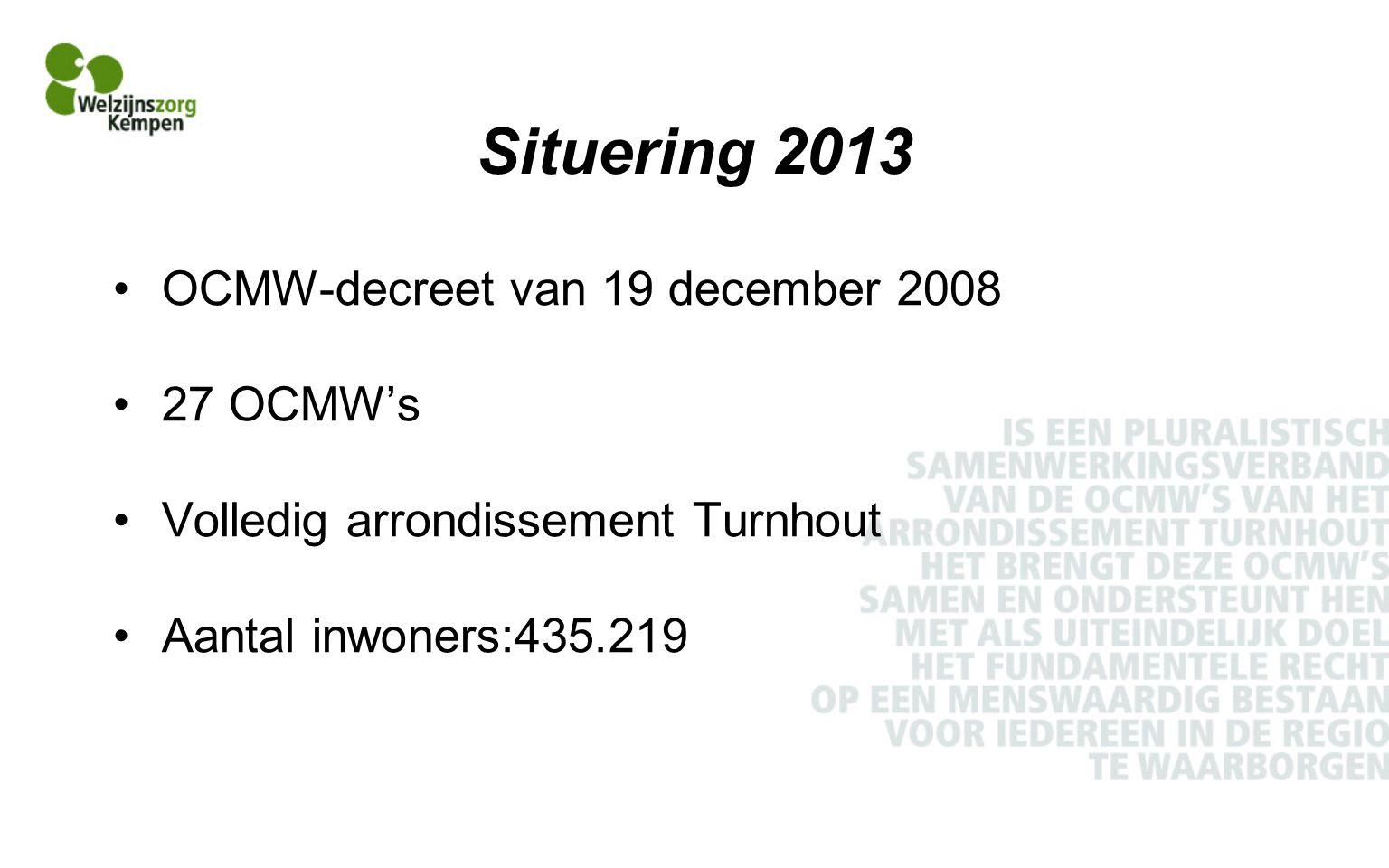 Situering 2013 OCMW-decreet van 19 december 2008 27 OCMW's