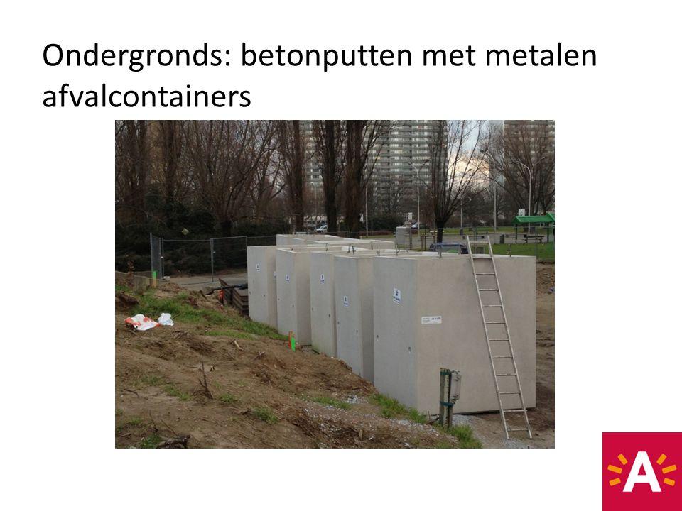 Ondergronds: betonputten met metalen afvalcontainers