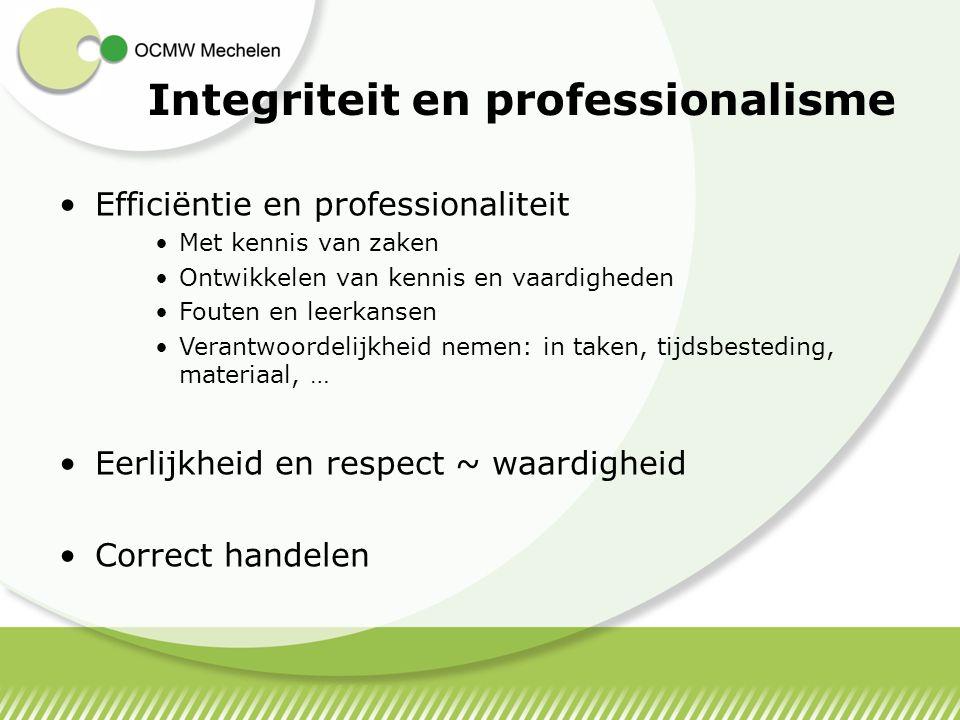 Integriteit en professionalisme