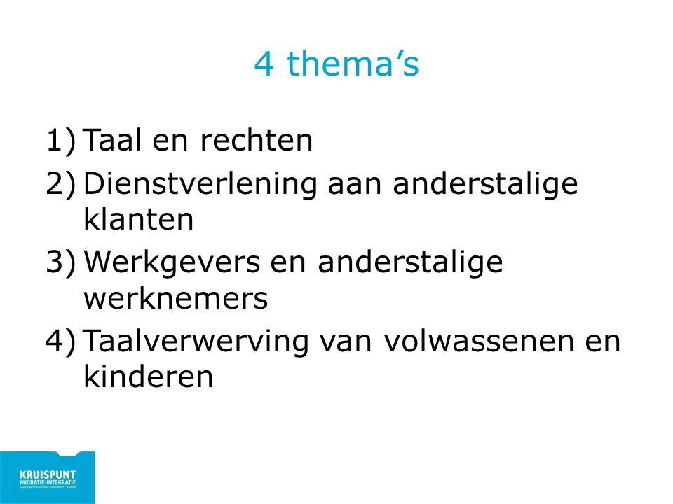 4 thema's Taal en rechten Dienstverlening aan anderstalige klanten