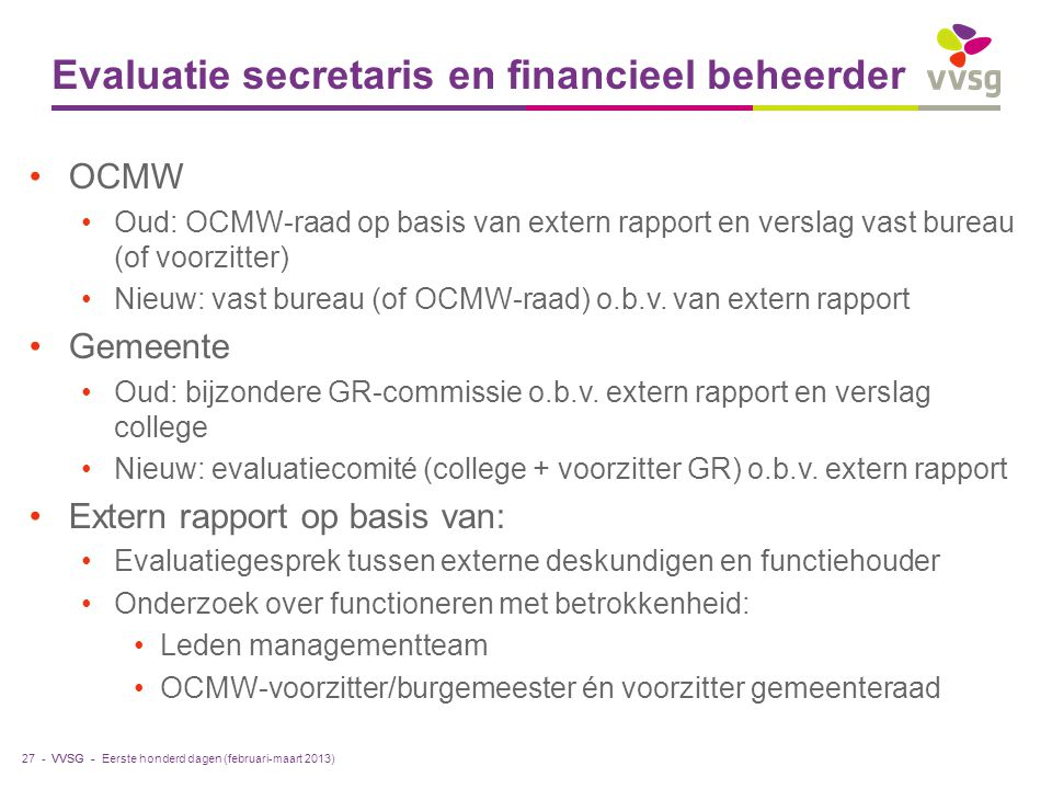 Evaluatie secretaris en financieel beheerder