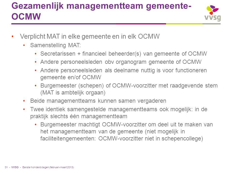 Gezamenlijk managementteam gemeente-OCMW