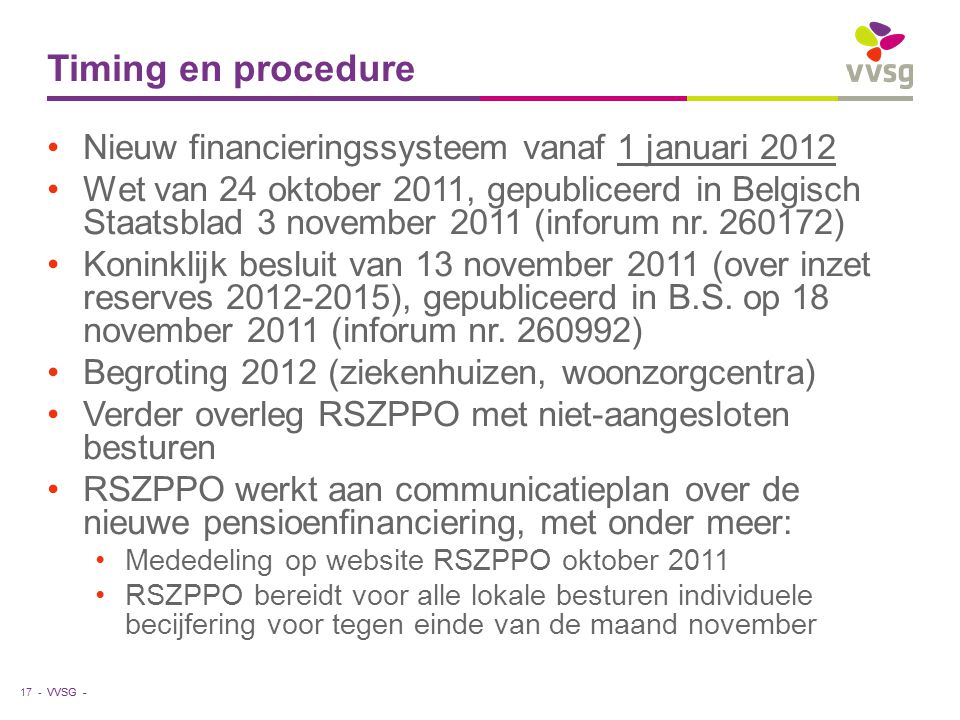 Timing en procedure Nieuw financieringssysteem vanaf 1 januari 2012