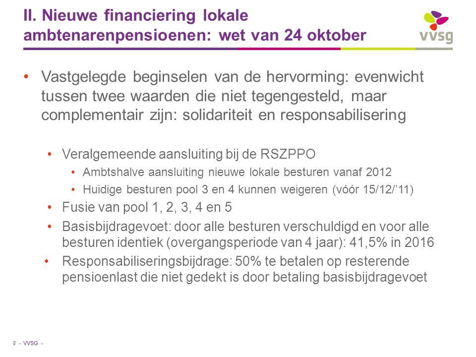 II. Nieuwe financiering lokale ambtenarenpensioenen: wet van 24 oktober