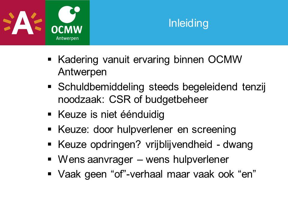 Inleiding Kadering vanuit ervaring binnen OCMW Antwerpen