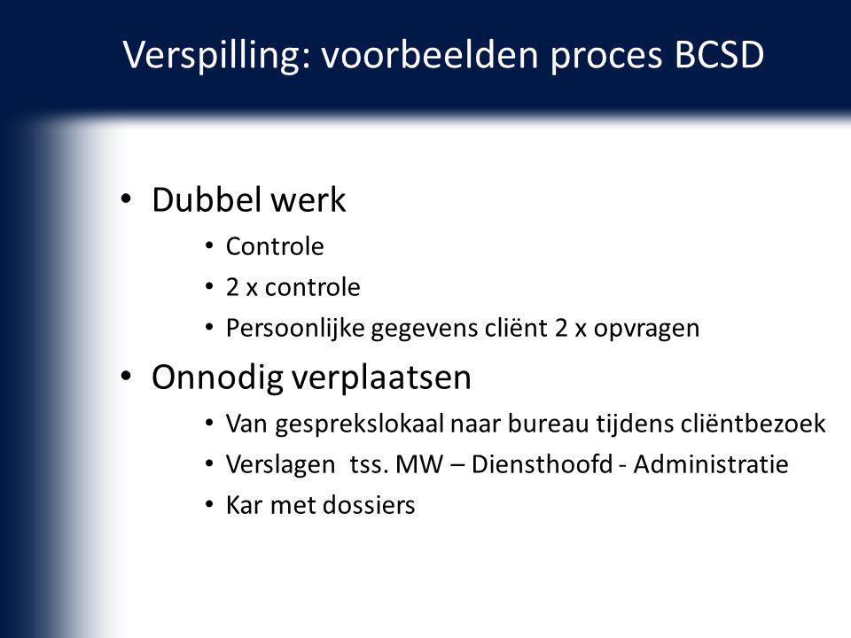 Verspilling: voorbeelden proces BCSD