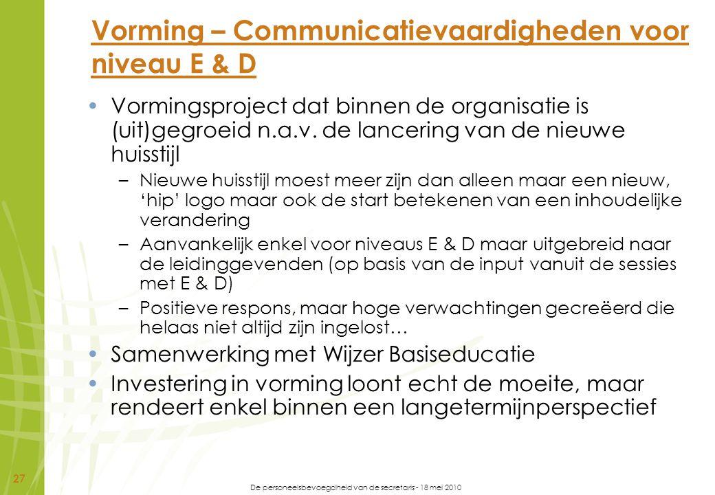 Vorming – Communicatievaardigheden voor niveau E & D