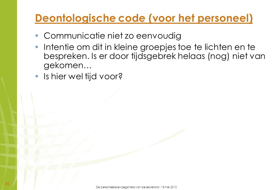 Deontologische code (voor het personeel)