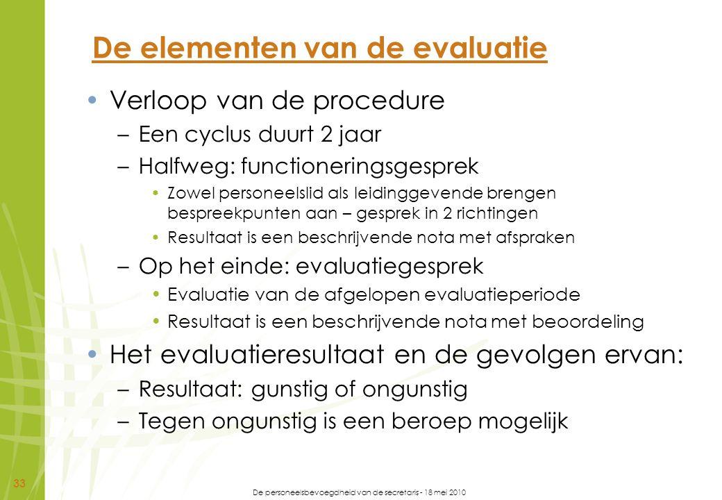 De elementen van de evaluatie
