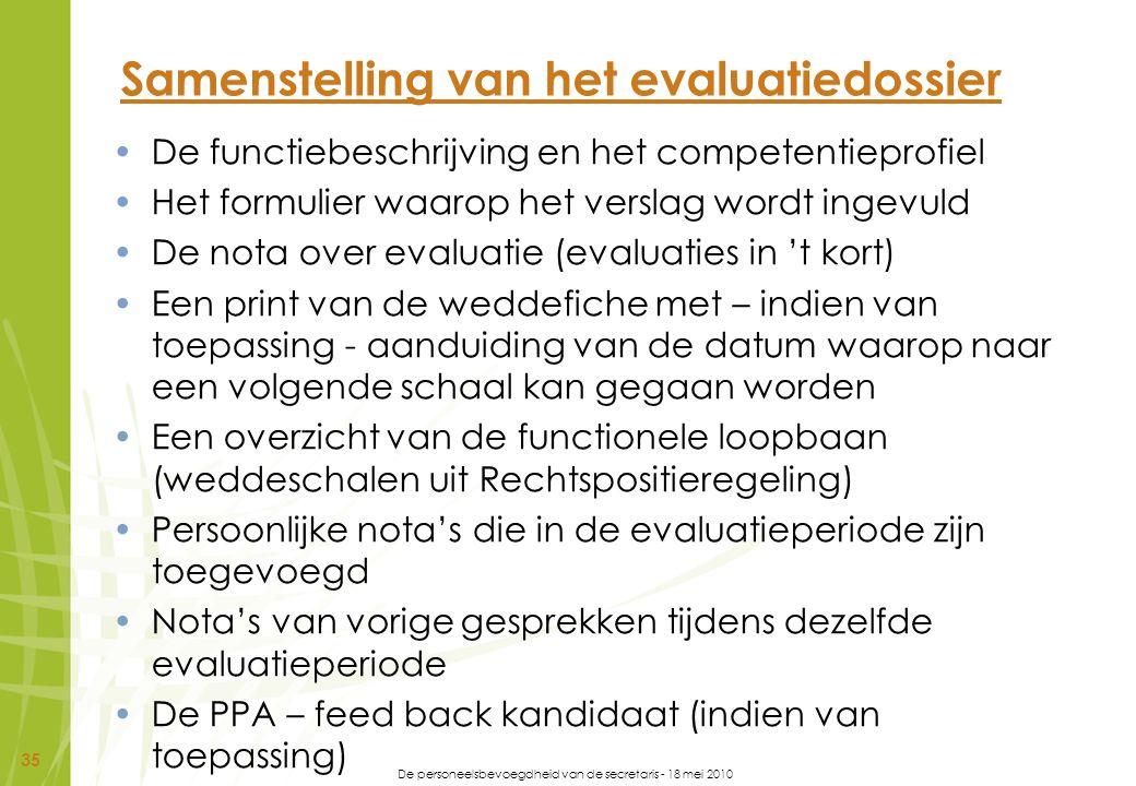 Samenstelling van het evaluatiedossier
