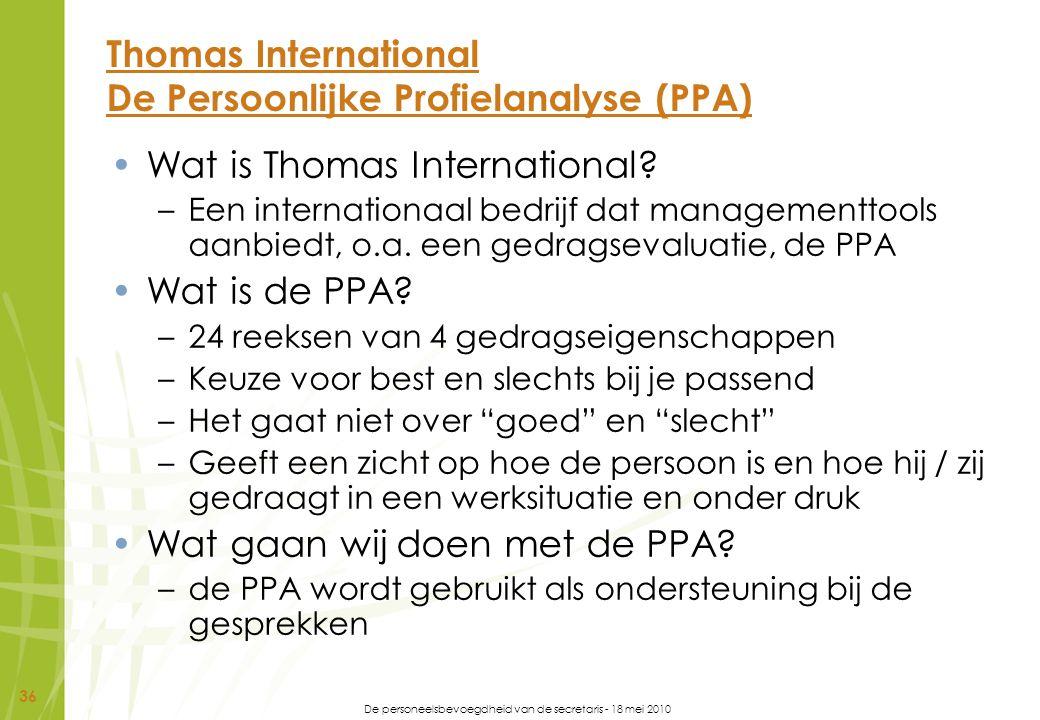 Thomas International De Persoonlijke Profielanalyse (PPA)