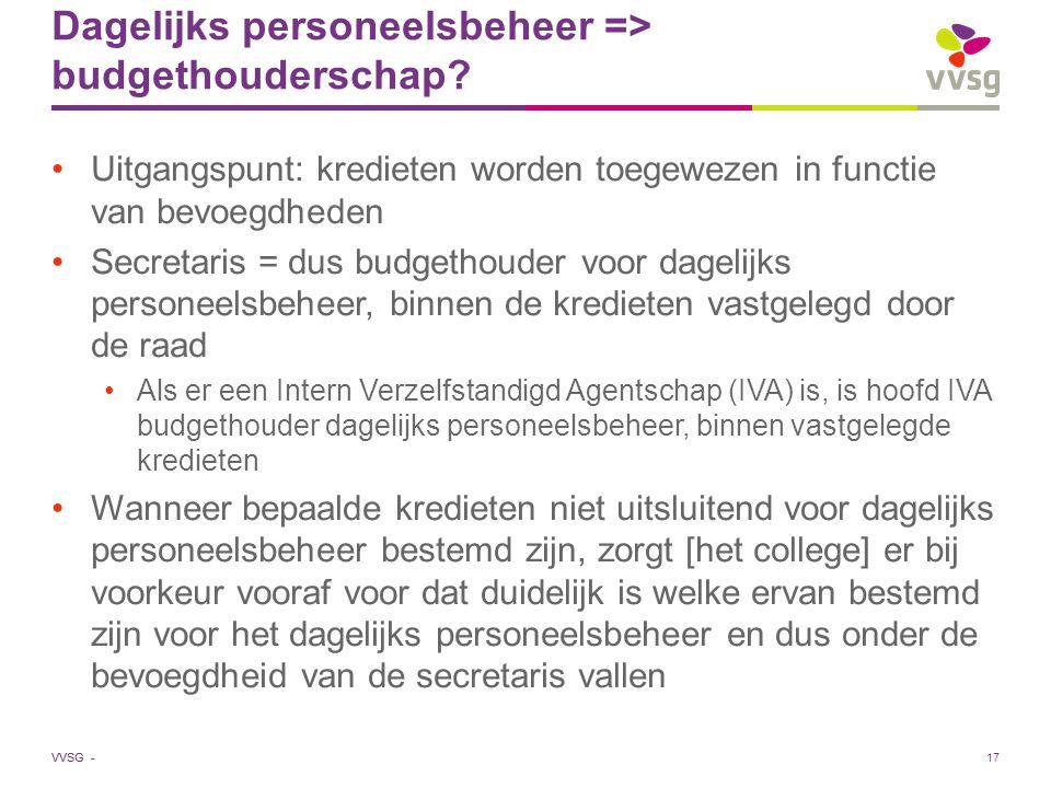 Dagelijks personeelsbeheer => budgethouderschap
