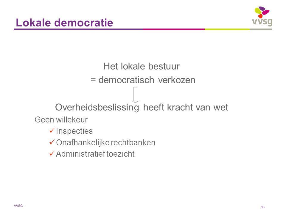 Lokale democratie Het lokale bestuur = democratisch verkozen