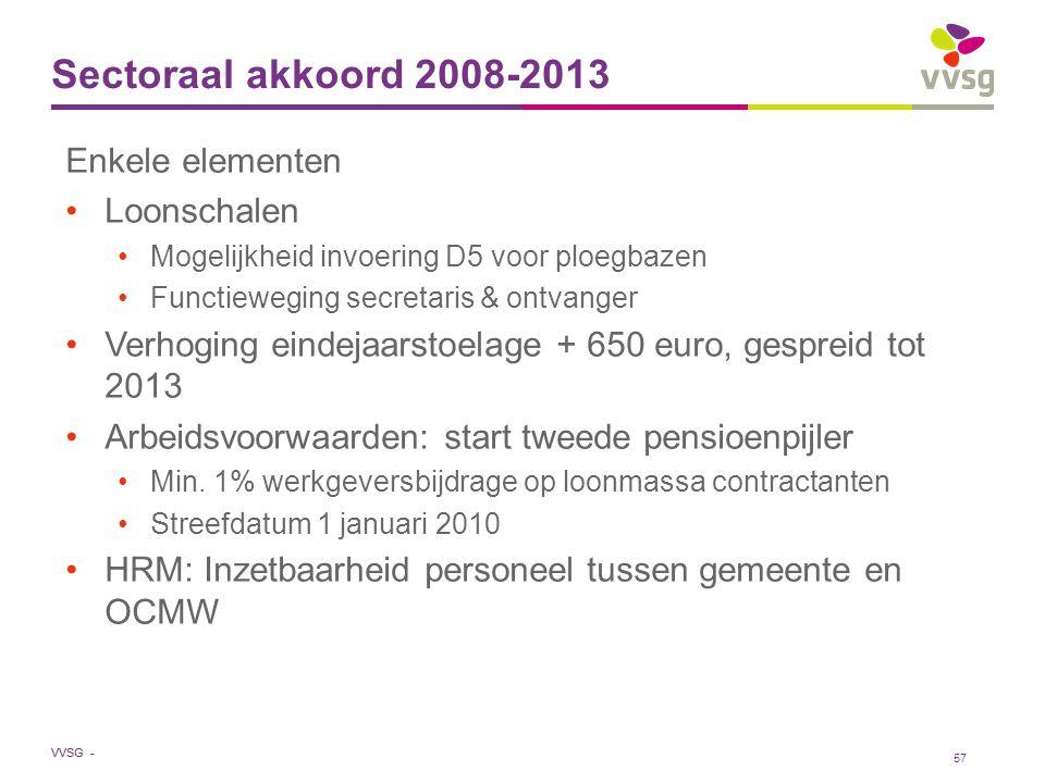 Sectoraal akkoord 2008-2013 Enkele elementen Loonschalen