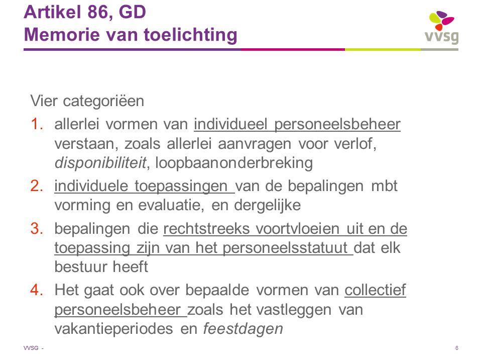Artikel 86, GD Memorie van toelichting