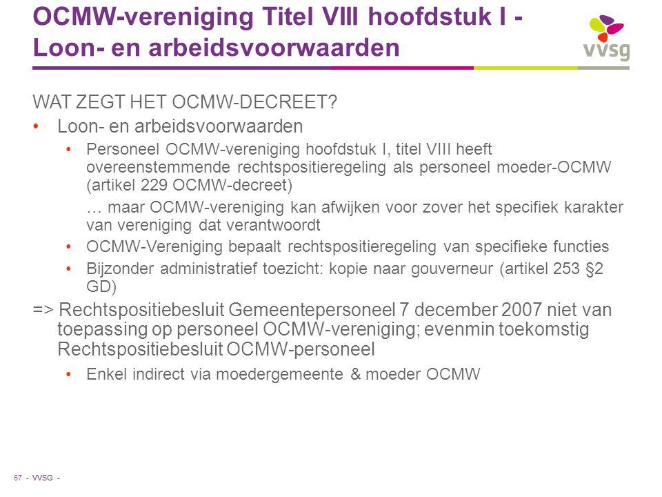 OCMW-vereniging Titel VIII hoofdstuk I - Loon- en arbeidsvoorwaarden