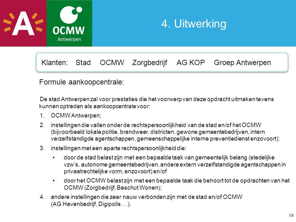 4. Uitwerking Klanten: Stad OCMW Zorgbedrijf AG KOP Groep Antwerpen