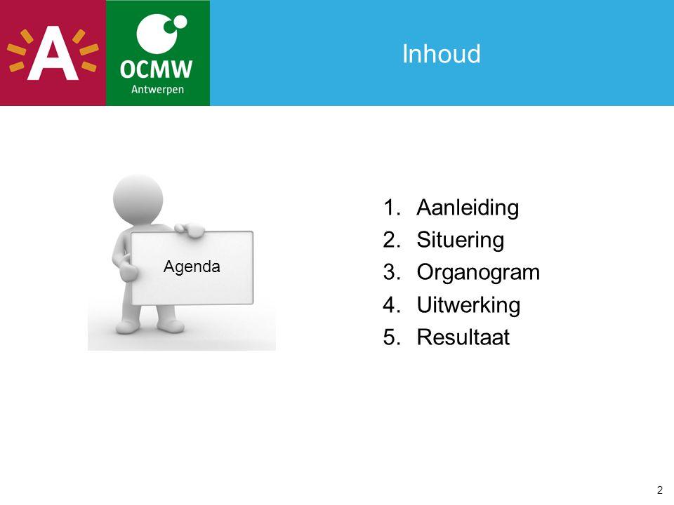 Inhoud Aanleiding Situering Organogram Uitwerking Resultaat Agenda 2