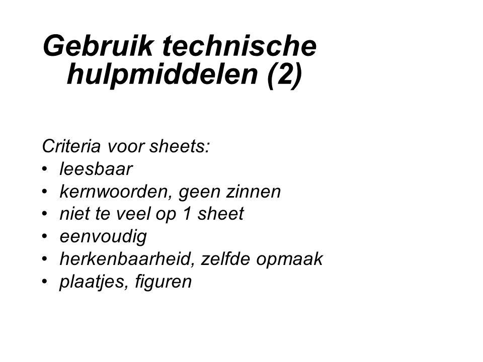 Gebruik technische hulpmiddelen (2)