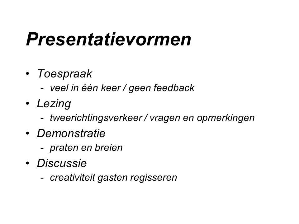 Presentatievormen Toespraak Lezing Demonstratie Discussie