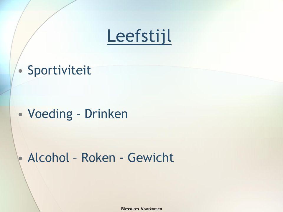 Leefstijl Sportiviteit Voeding – Drinken Alcohol – Roken - Gewicht