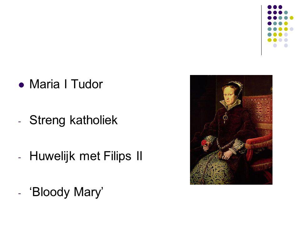 Maria I Tudor Streng katholiek Huwelijk met Filips II 'Bloody Mary'