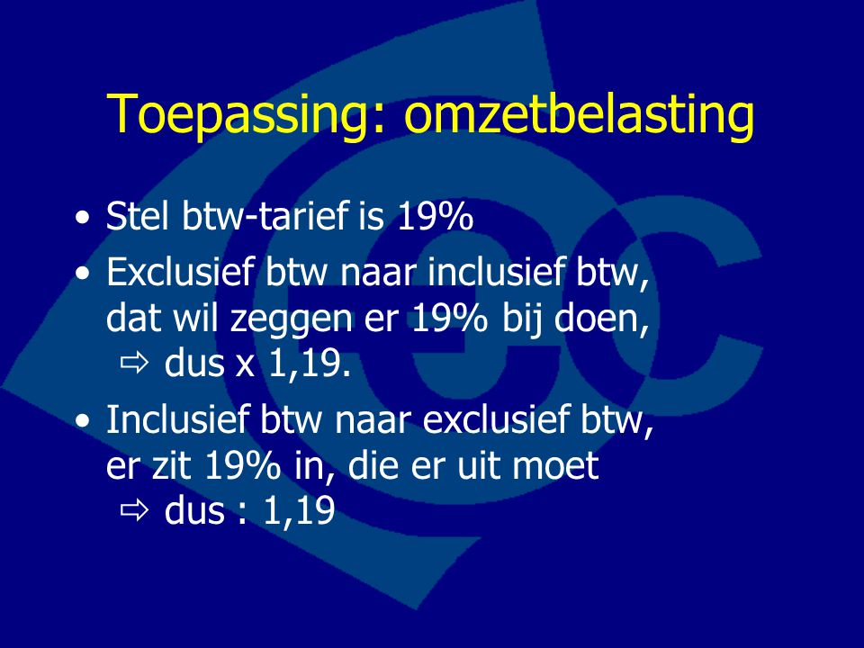Toepassing: omzetbelasting