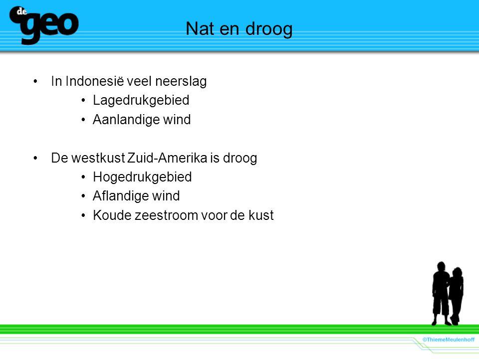 Nat en droog In Indonesië veel neerslag Lagedrukgebied Aanlandige wind