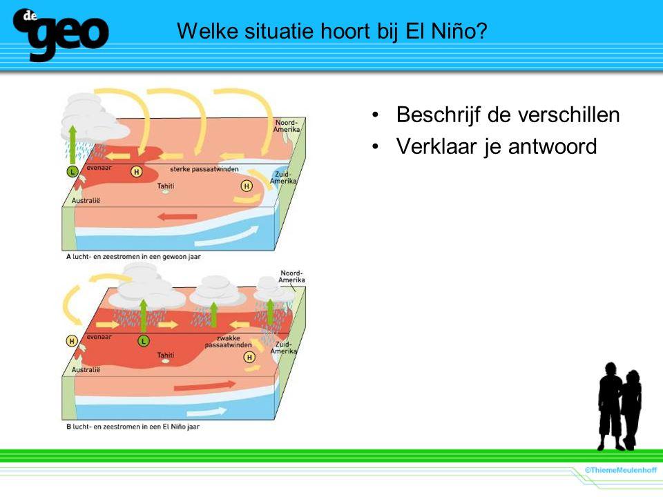 Welke situatie hoort bij El Niño