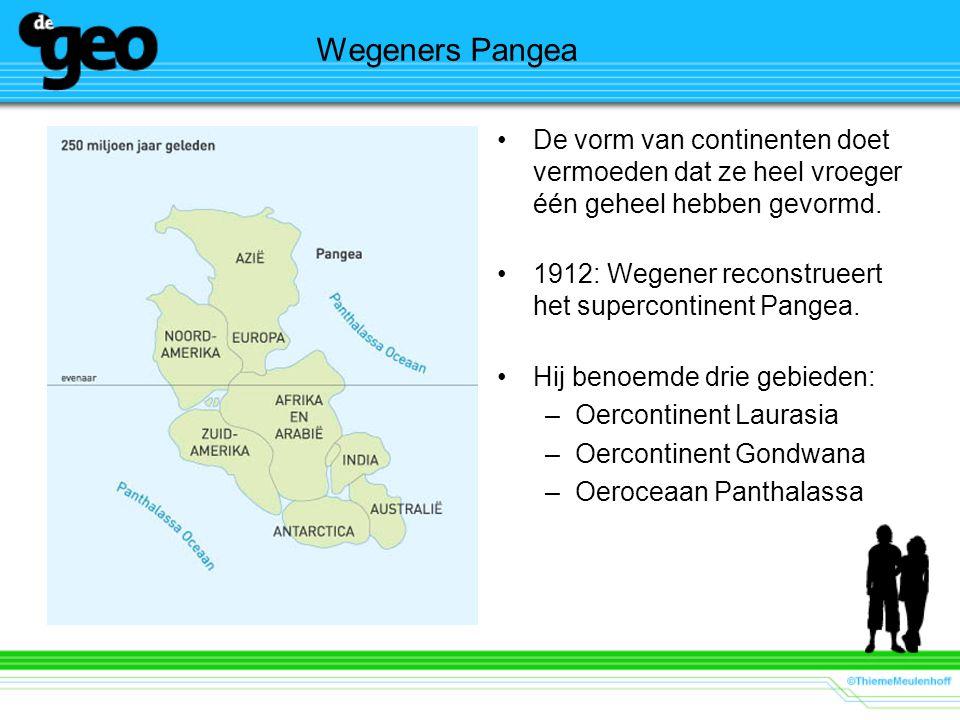 Wegeners Pangea De vorm van continenten doet vermoeden dat ze heel vroeger één geheel hebben gevormd.