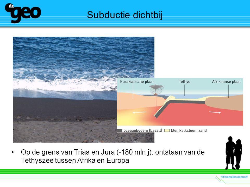 Subductie dichtbij Op de grens van Trias en Jura (-180 mln j): ontstaan van de Tethyszee tussen Afrika en Europa.