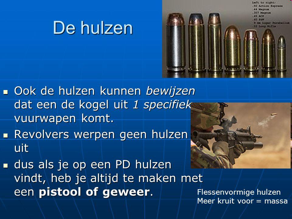 De hulzen Ook de hulzen kunnen bewijzen dat een de kogel uit 1 specifiek vuurwapen komt. Revolvers werpen geen hulzen uit.