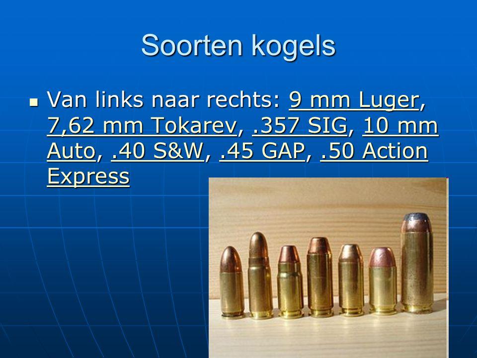 Soorten kogels Van links naar rechts: 9 mm Luger, 7,62 mm Tokarev, .357 SIG, 10 mm Auto, .40 S&W, .45 GAP, .50 Action Express.