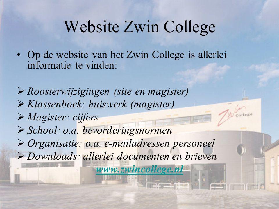 Website Zwin College Op de website van het Zwin College is allerlei informatie te vinden: Roosterwijzigingen (site en magister)