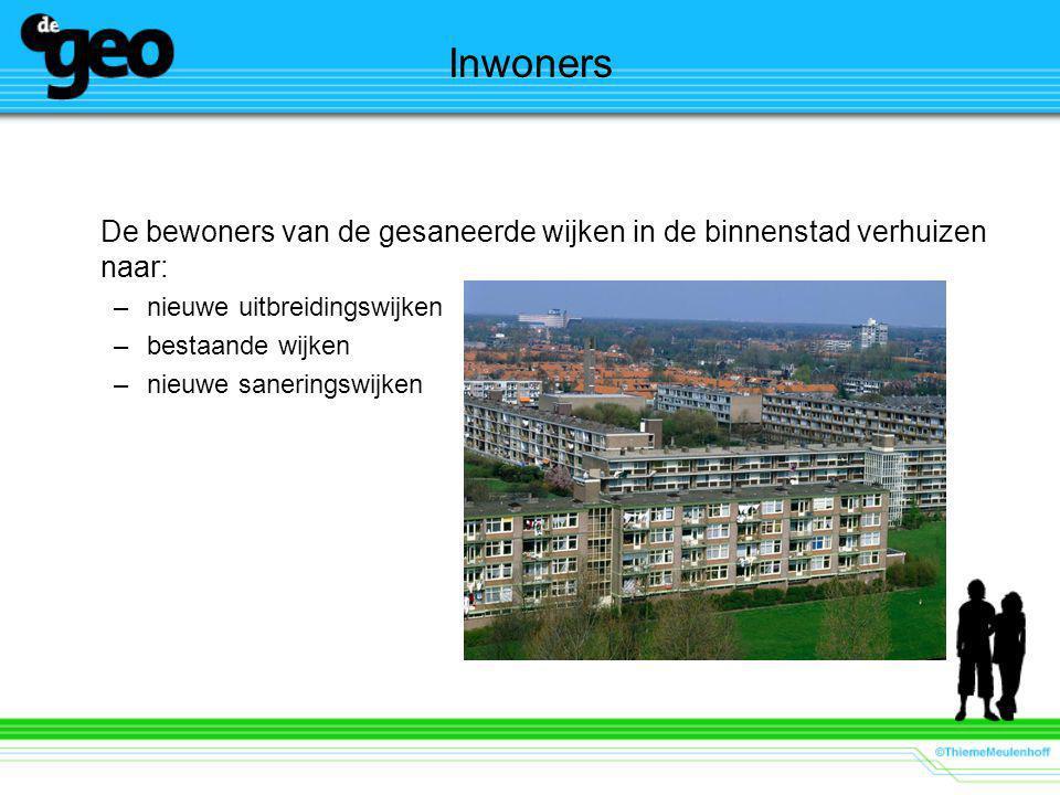Inwoners De bewoners van de gesaneerde wijken in de binnenstad verhuizen naar: nieuwe uitbreidingswijken.