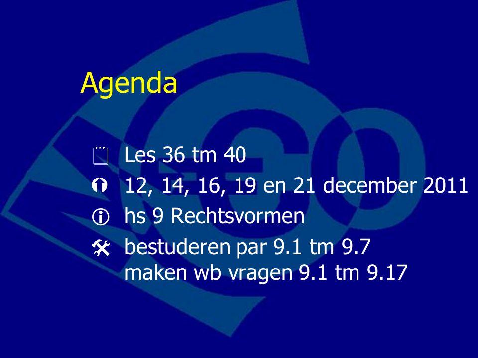 Agenda  Les 36 tm 40  12, 14, 16, 19 en 21 december 2011