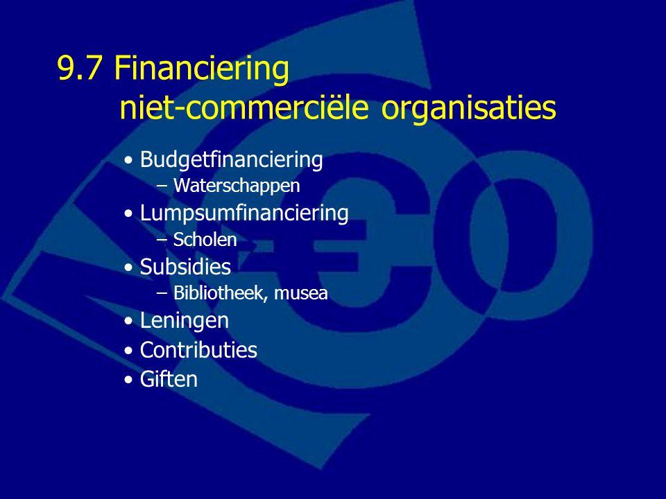 9.7 Financiering niet-commerciële organisaties