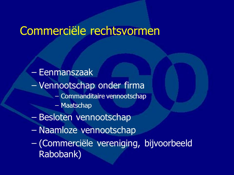 Commerciële rechtsvormen